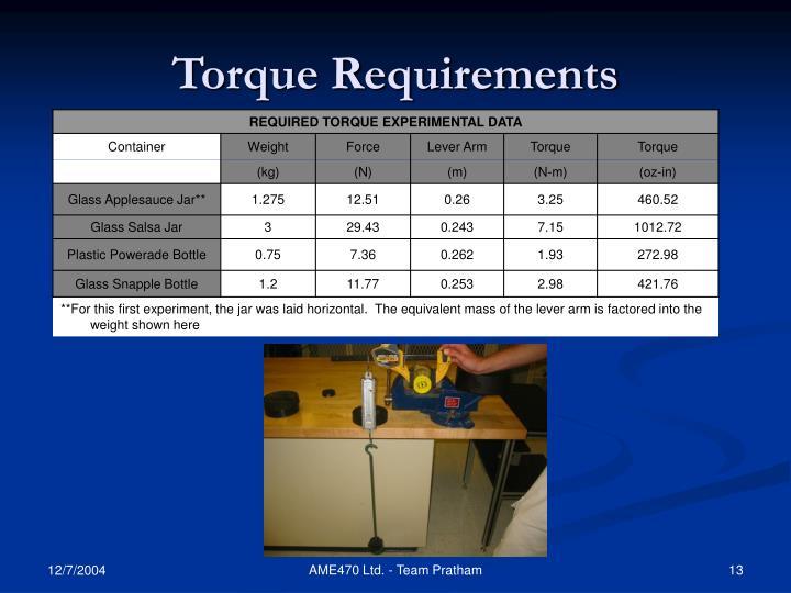 Torque Requirements