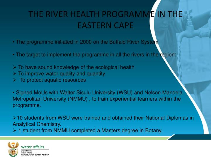 THE RIVER HEALTH PROGRAMME IN THE EASTERN CAPE