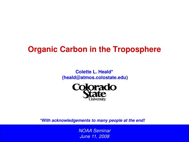 organic carbon in the troposphere n.