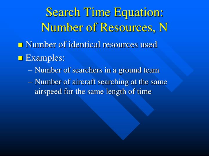 Search Time Equation: