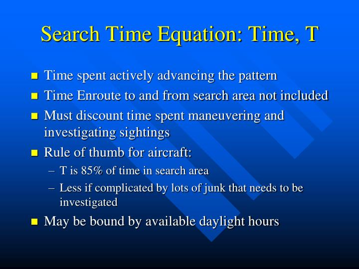 Search Time Equation: Time, T