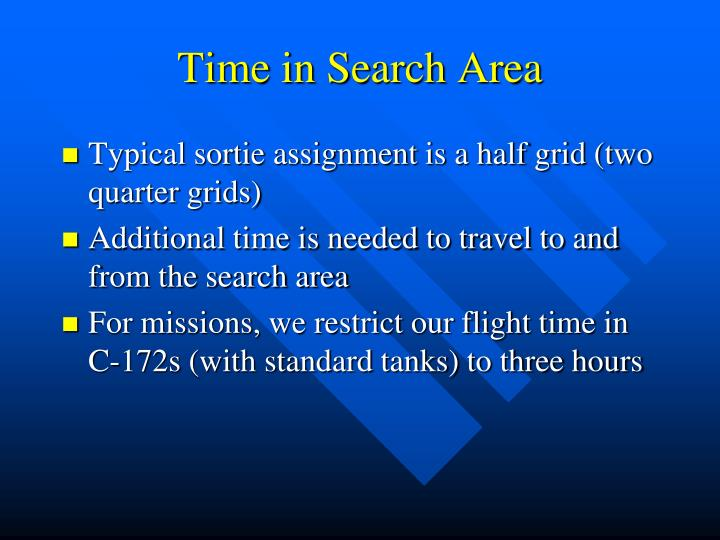 Time in Search Area