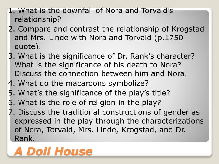 1. What is the downfall of Nora and Torvald's relationship?