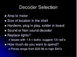 decoder selection