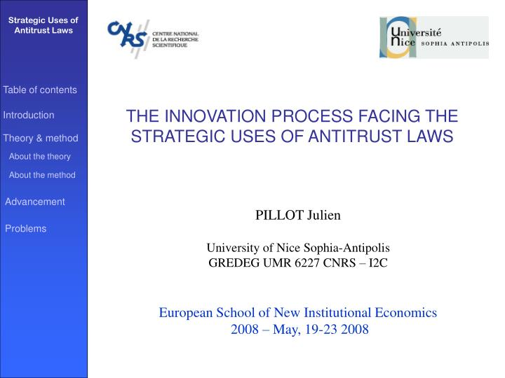 the innovation process facing the strategic uses of antitrust laws