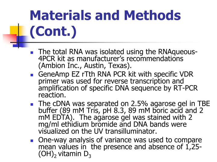 Materials and Methods (Cont.)