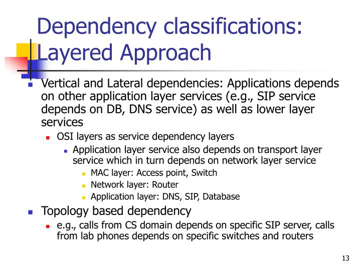 Dependency classifications:  Layered Approach