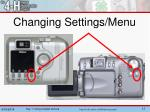 changing settings menu