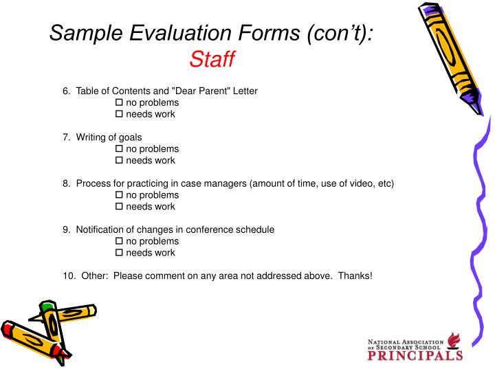 Sample Evaluation Forms (con't):