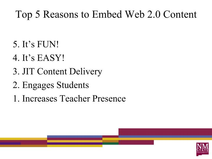 Top 5 reasons to embed web 2 0 content