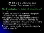 nmhed l d g e common core transfer competenies ii continued