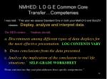 nmhed l d g e common core transfer competenies