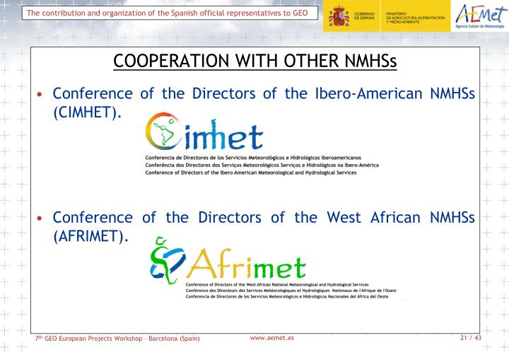 COOPERATION WITH OTHER NMHSs