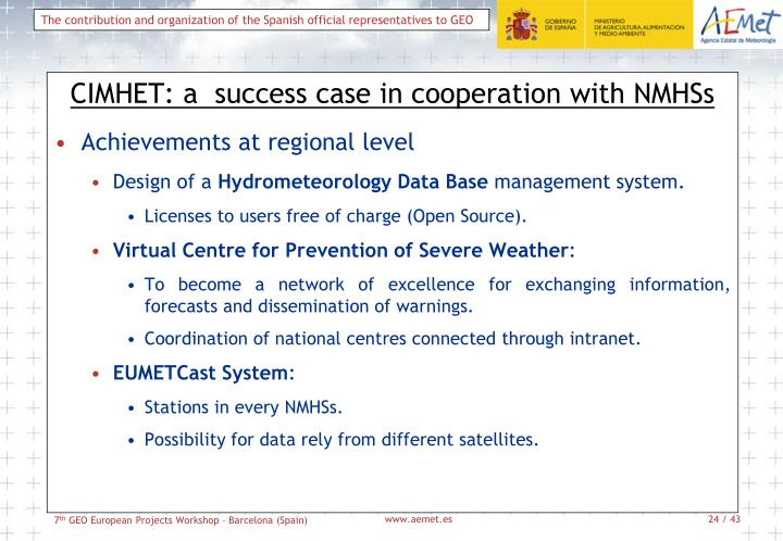 CIMHET: a  success case in cooperation with NMHSs