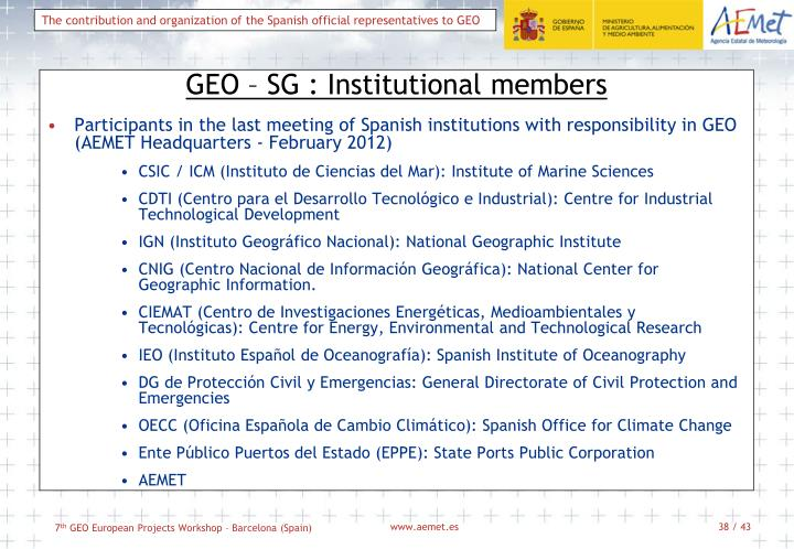 GEO – SG : Institutional members