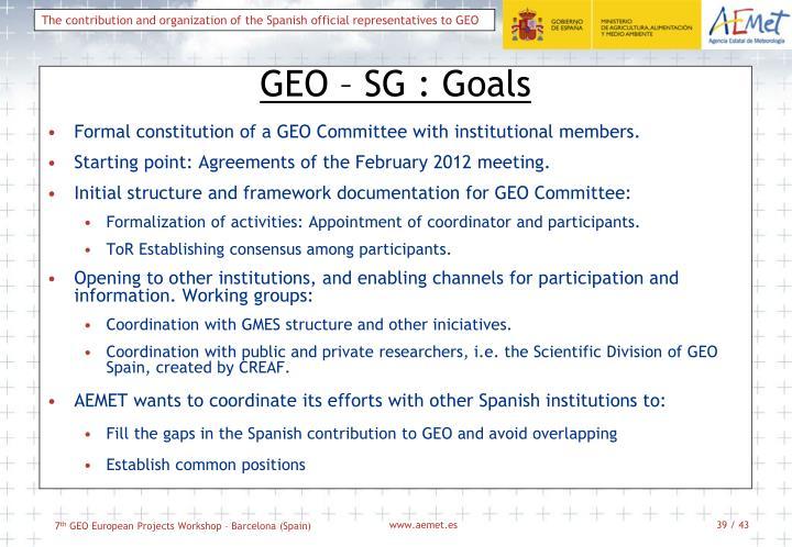 GEO – SG : Goals