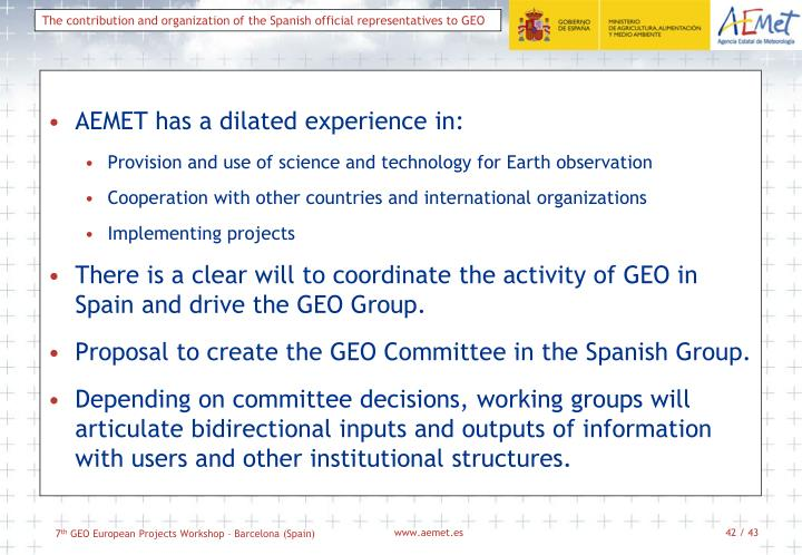 AEMET has a dilated experience in: