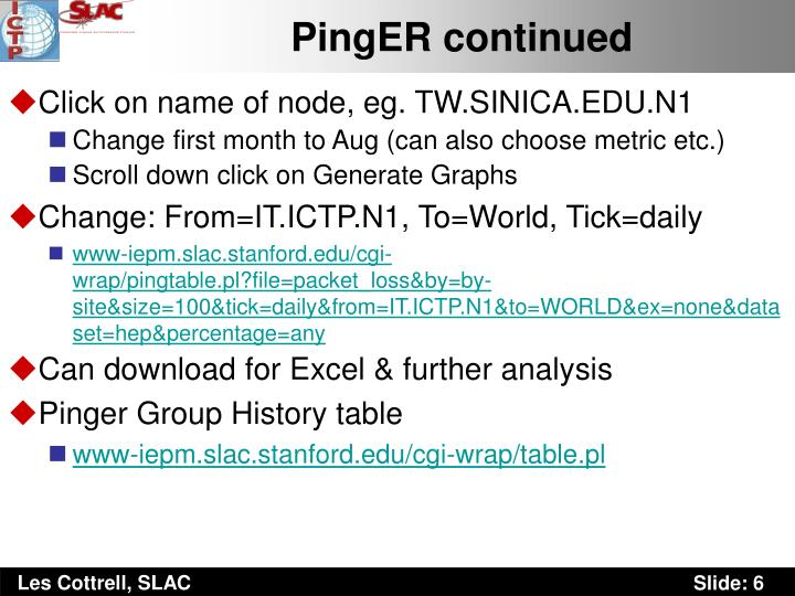 PingER continued
