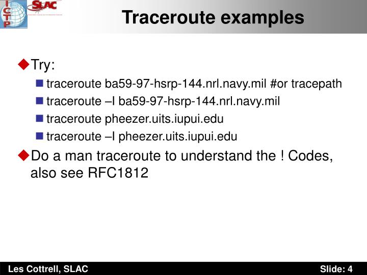 Traceroute examples
