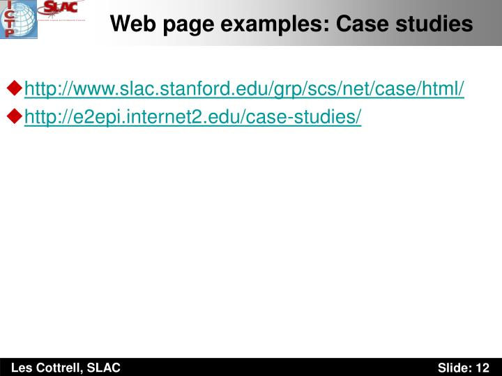 Web page examples: Case studies