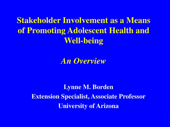 Stakeholder involvement as a means of promoting adolescent health and well being an overview