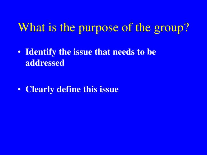 What is the purpose of the group