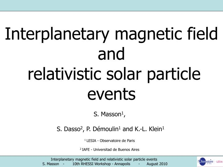 Interplanetary magnetic field and relativistic solar particle events