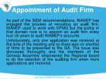 appointment of audit firm