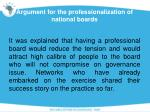 argument for the professionalization of national boards1