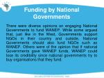 funding by national governments