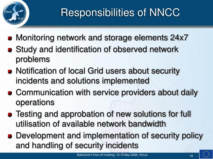 Responsibilities of NNCC