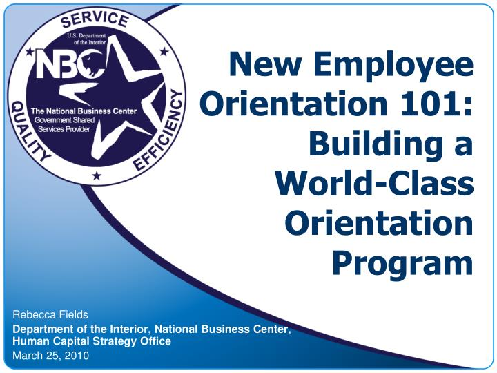 Orientation Programme For New Employees Ppt