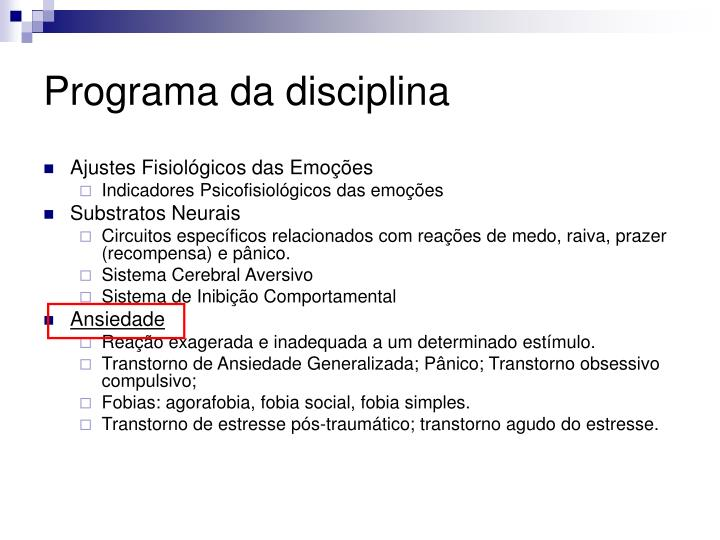 Programa da disciplina1