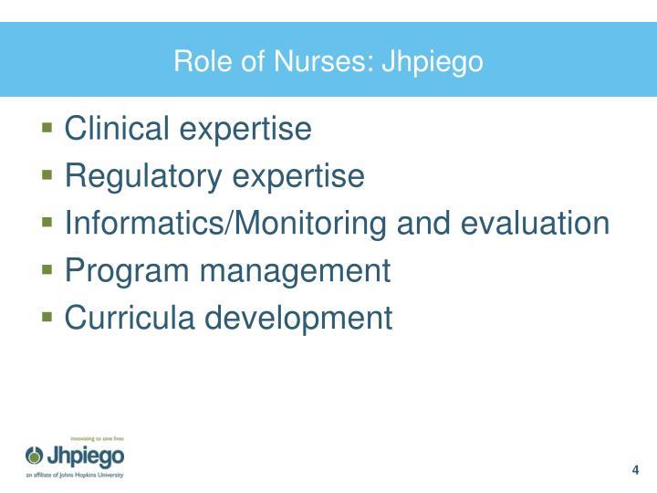 Role of Nurses: Jhpiego