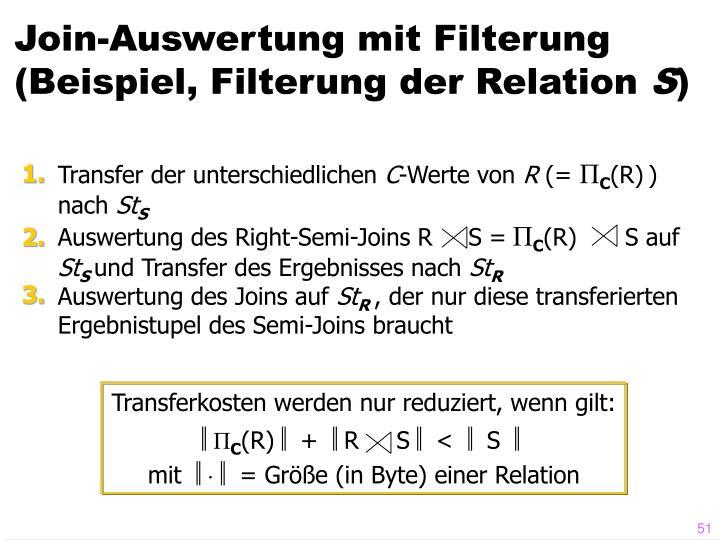 Join-Auswertung mit Filterung (Beispiel, Filterung der Relation