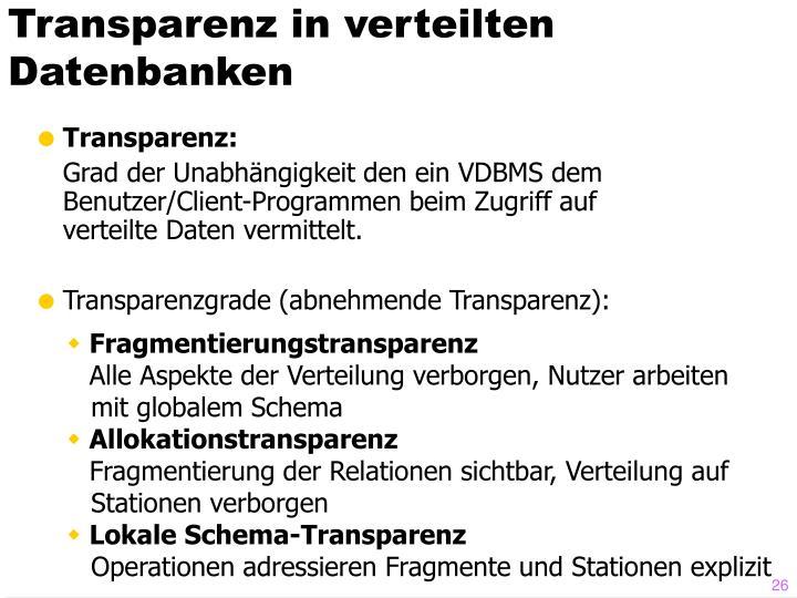 Transparenz in verteilten Datenbanken