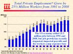 total private employment grew by 25 million workers from 1991 to 2008