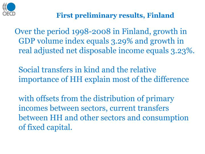 First preliminary results, Finland