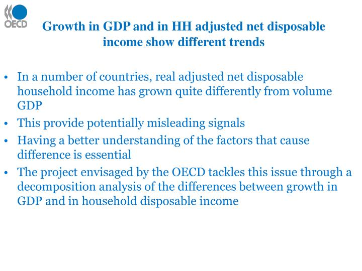 Growth in GDP and in HH adjusted net disposable income show different trends