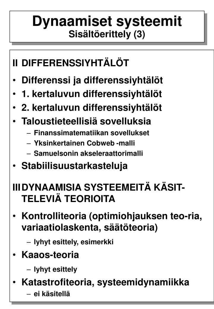 Dynaamiset systeemit
