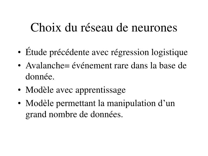 Choix du réseau de neurones