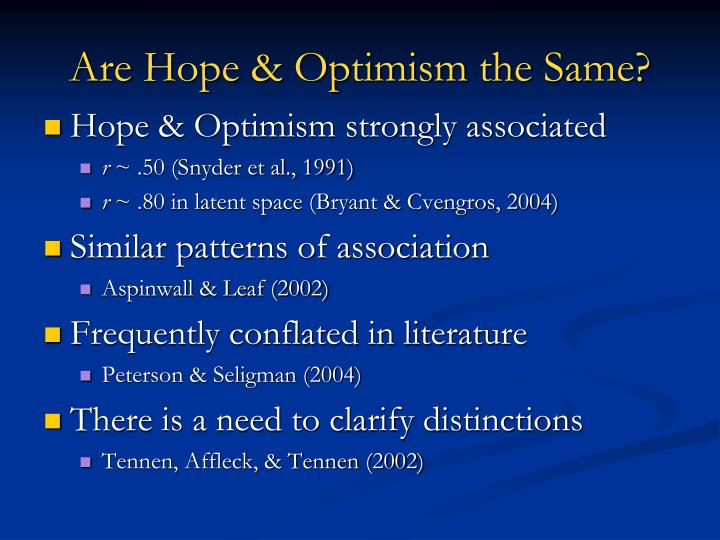 Are hope optimism the same