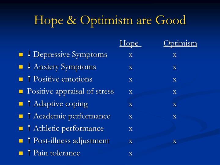 Hope optimism are good