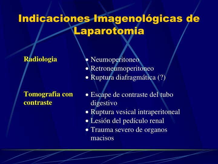 Indicaciones imagenol gicas de laparotomia