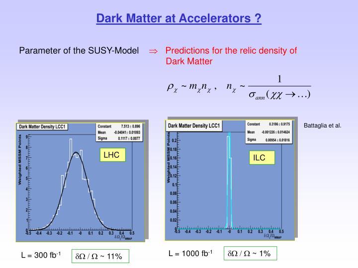 Dark Matter at Accelerators ?