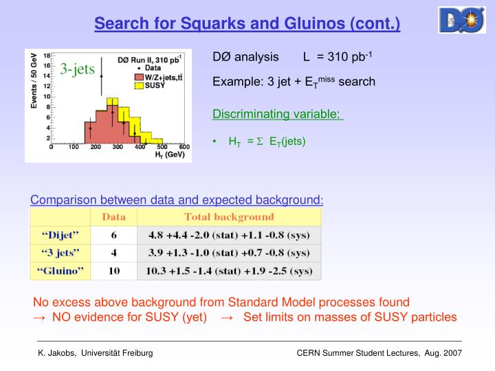 Search for Squarks and Gluinos (cont.)