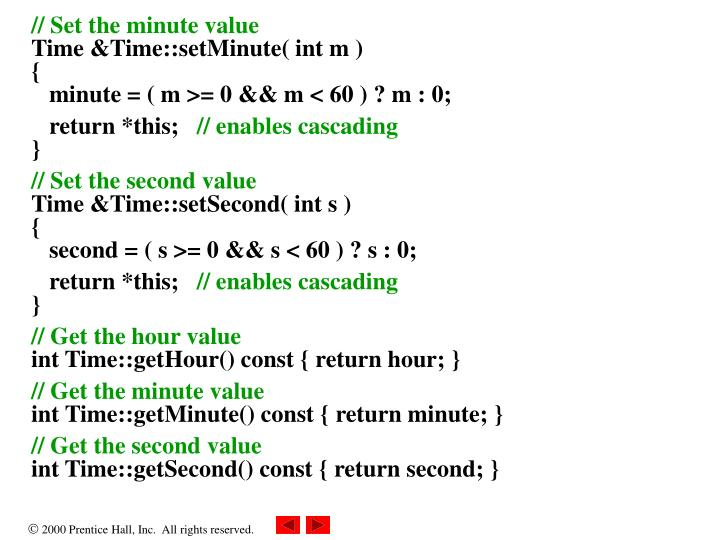 // Set the minute value