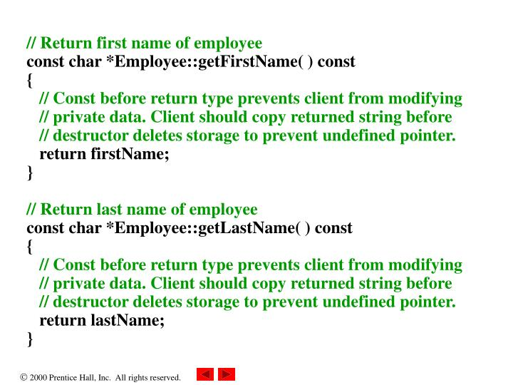 // Return first name of employee