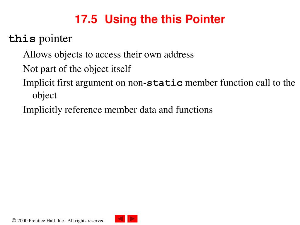 PPT - Chapter 17 C++ Classes ---- Friend, this, new, delete