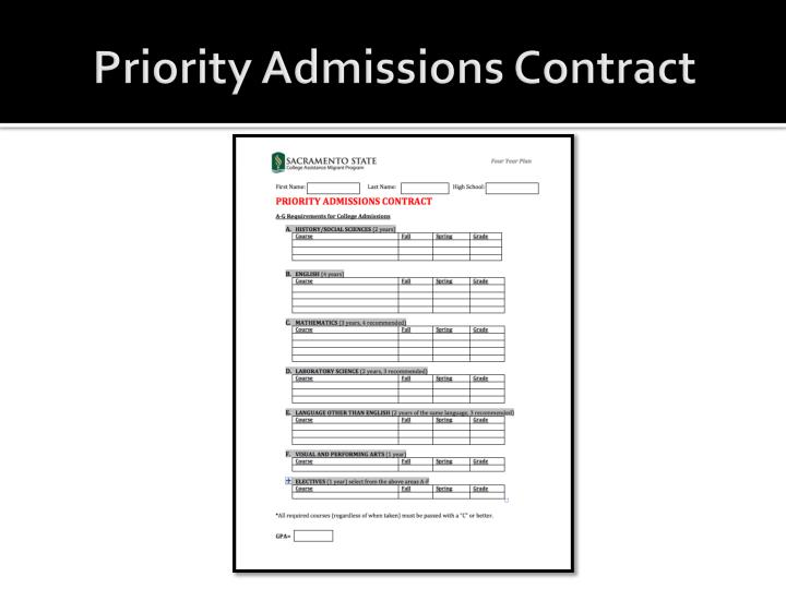 Priority Admissions Contract
